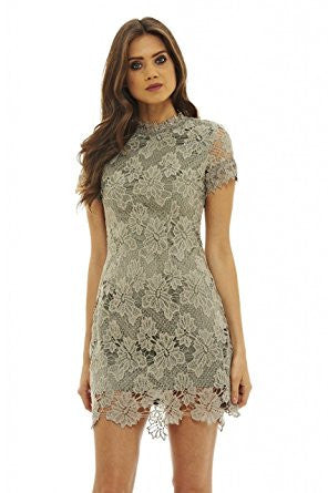 Grey High Neck Short Sleeve Full Lace Mini Dress