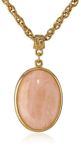 "Gold & Pink ""Semi-Precious Collection"" 14k Gold Dipped Oval Pendant Necklace - Crystalline"