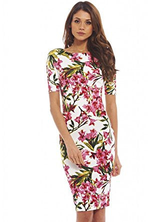 Cream 3/4 Sleeve Red Floral Print Bodycon Midi Dress