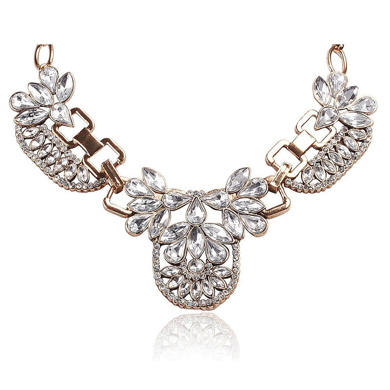 Lifestyle Floral Rhinestone Collar Necklace With Metal - Crystalline