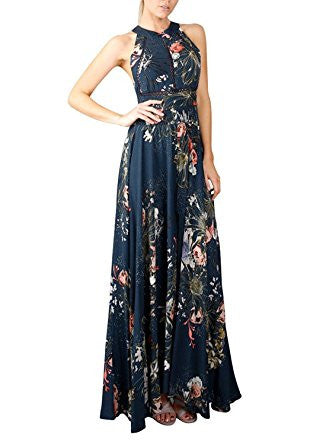 Blue Halter Neck Floral Print Backless Split Maxi Dress
