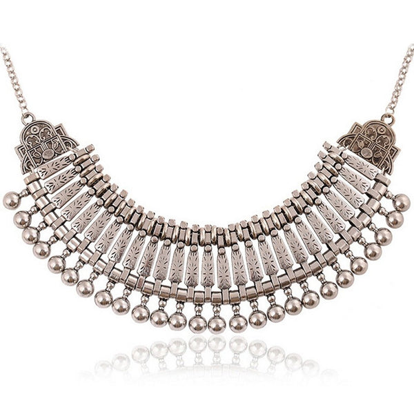 Coin Stylish Collar Chain Tribal Retro Antique Silver Alloy Bib Choker Necklace - Crystalline