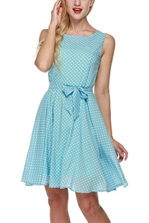 Light Blue Dot Print Sleeveless Self-Tie Chiffon Pleated Dress