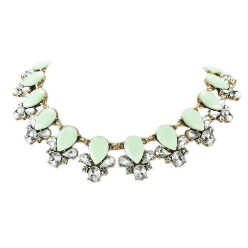 Resin Rhinestone Crystal Statement Fashion Necklace - Crystalline