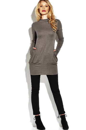 Light Coffee Two Side Pockets Roll Neck Dress