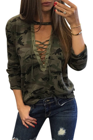 Army Green Camouflage Round Neck Lace Up Long Sleeve Shirt