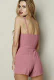 Pink V Neck Spaghetti Strap Self-Tie Playsuit