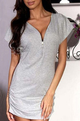 Grey Front Zipper Short Sleeve Shirred Side Mini Dress