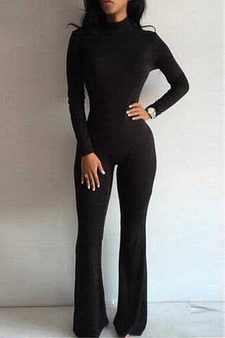 Black Long Sleeve Bodycon Back Zipper Jumpsuit