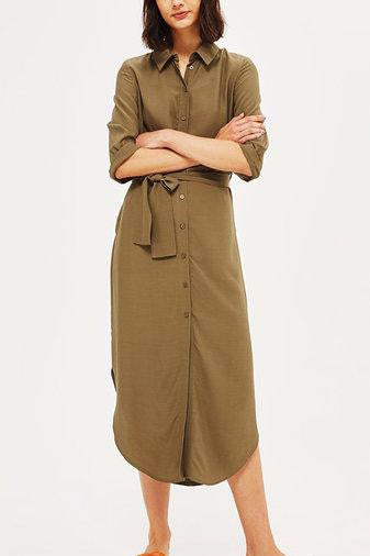 Khaki Button Front Self-Tie Curved Hem Shirt Dress