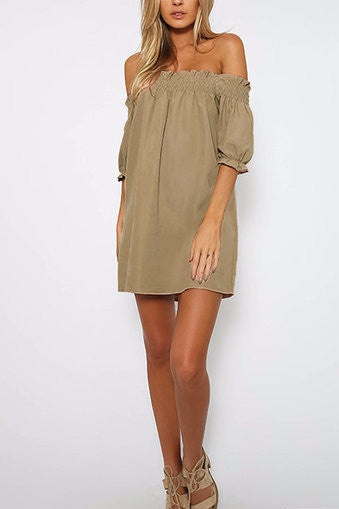 Khaki Off Shoulder Lantern Half Sleeve Mini Dress