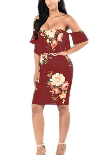 Burgundy Off Shoulder Floral Print Layered Bodycon Dress