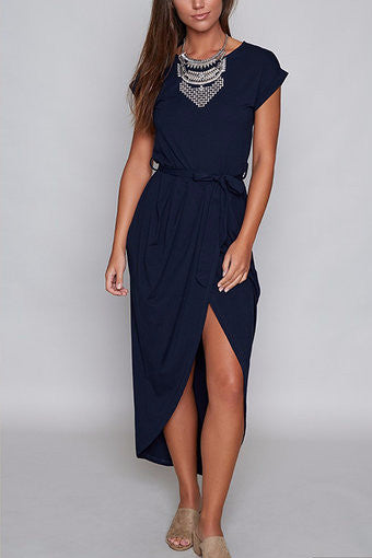 Navy Round Neck Cuffed Sleeve Self-Tie Irregular Hem Dress