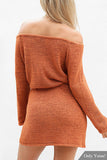 Orange Off Shoulder Knitted Self-Tie Dress