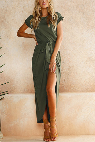 Green Short Sleeve Self Tie Split Hem Wrap High Low Maxi Dress