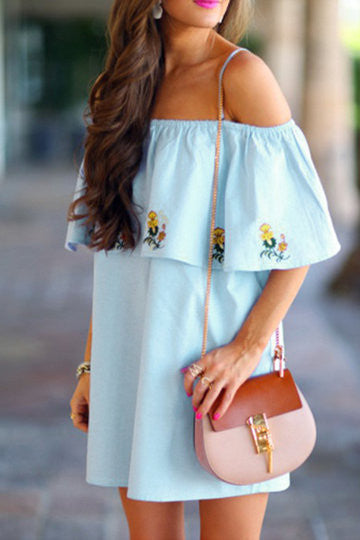 Blue Layered Floral Embroidered Loose Mini Dress