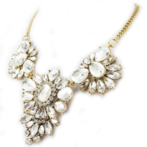 Bling Rhinestone Crystal Statement Flower Fashion Necklace - Crystalline
