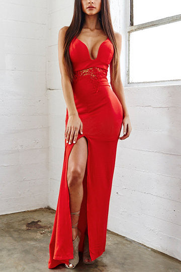 Red Deep V-Neck Sleeveless Waist Cut-Out Lace Detail Splitted Hem Maxi Dress