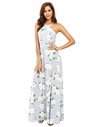 Blue Sleeveless Halter Neck Floral Print Maxi Dress