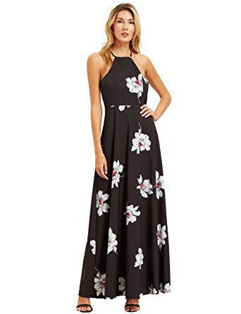 Black Floral Print Halter Neck Sleeveless Maxi Dress