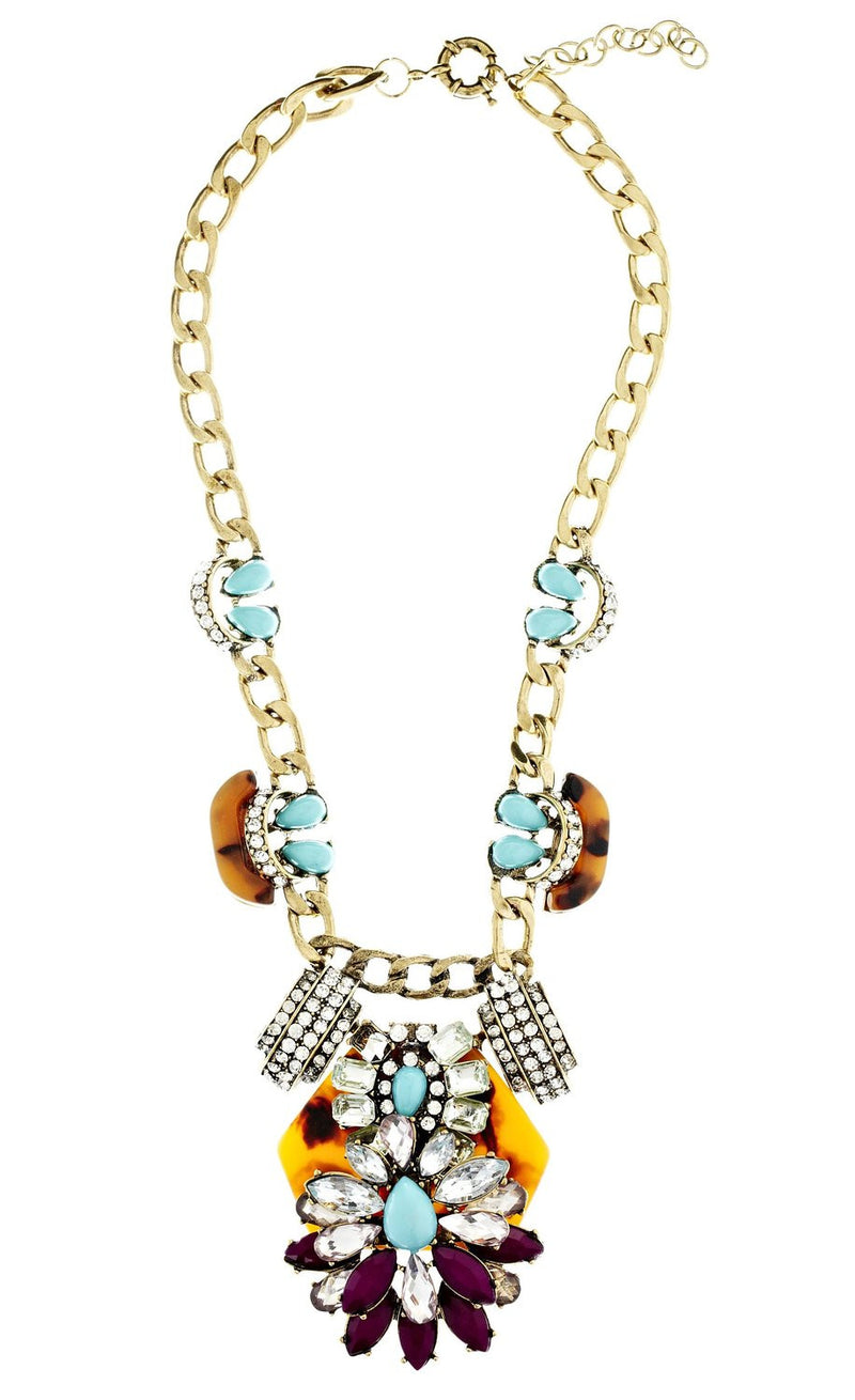 Turquoise and Tortoise Statement Necklace - Crystalline