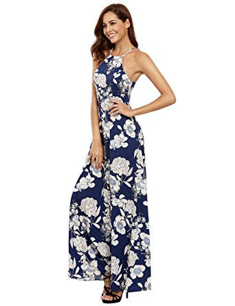 Blue Floral Print Halter Neck Sleeveless Maxi Dress