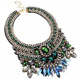 Fashion Gold Tone Chain Green Glass Crystal Charm Chunky Choker Statement Bib Necklace - Crystalline