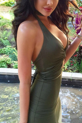 Army Green Halter Neck Front Tie Bodycon Midi Dress
