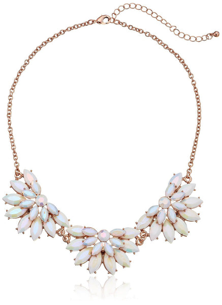 "White and Gold-Tone Station Statement Necklace, 16"" - Crystalline"