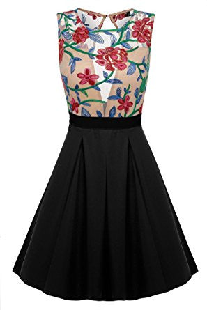 Black Floral Print See-Through Top Mini Skater Dress