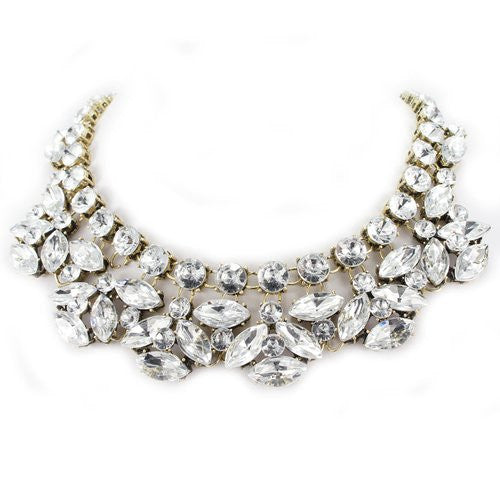 Golden Tone Rhinestone Crystal Statement Chokers Fashion Necklace - Crystalline