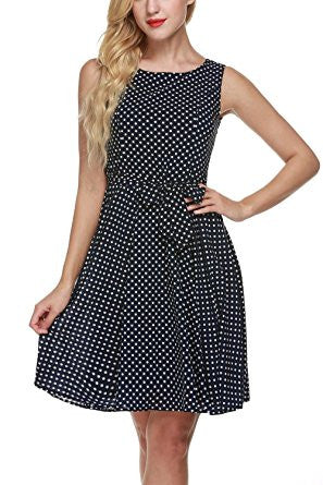 Black Dot Print Sleeveless Self-Tie Chiffon Pleated Dress