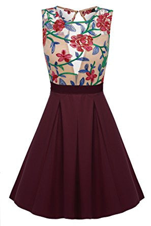 Burgundy Floral Print See-Through Top Mini Skater Dress