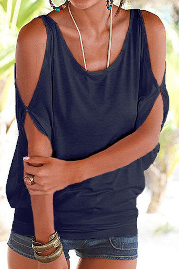 Navy Cold Shoulder Scoop Neck Tie Back Top