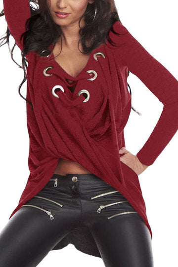 Red Long Sleeve Lace-Up Eyelet Knot Front High Low Shirt