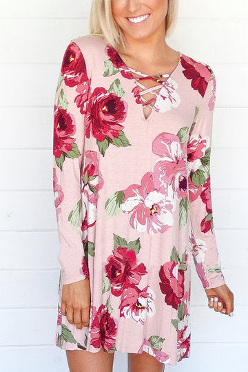 Pink Floral Print Criss Cross Front Long Sleeve Loose Dress