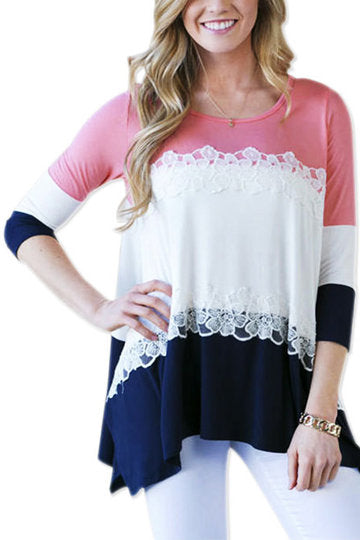 Pink Contrast Round Neck Lace Detail 3/4 Sleeve Irregular Hem Shirt