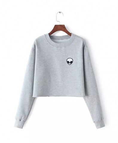 Cropped Fleece Sweatshirt with Alien Print - Crystalline