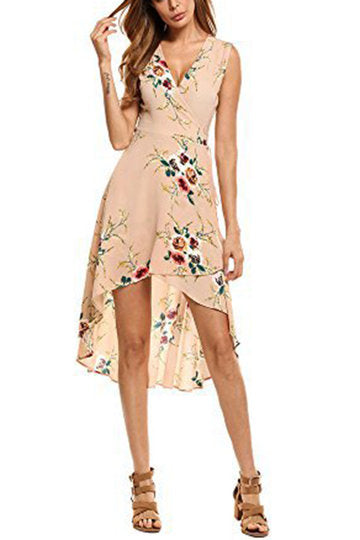 Beige Self-Tie Sleeveless Floral Print Irregular Hem Midi Dress