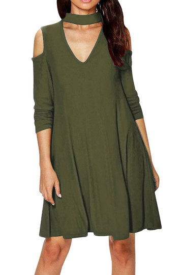 Army Green Choker Neck Cut-Out Cold Shoulder Swing Dress