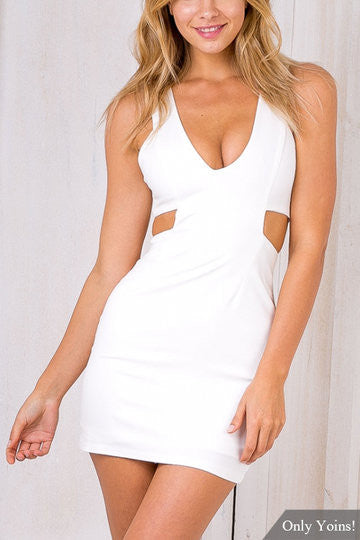 ee2028b9a493 White V-Neck Cutout Back Zipper Mini Dress – Crystalline