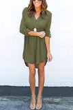 Green V-Neck Long Back Dress