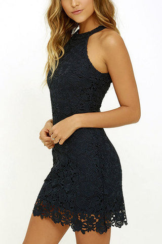 Black Full Lace Detail Halter Neck Zip Back Mini Dress