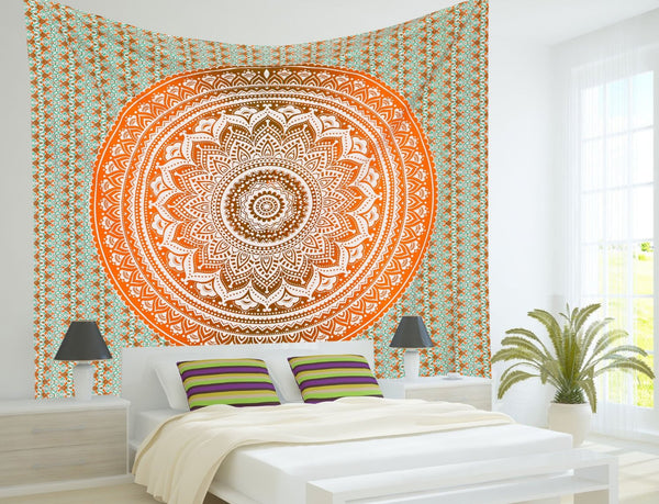 ndian Mandala Tapestry Hippie Hippy Wall Hanging Throw Bedspread Dorm Tapestry Decorative Wall Hanging , Ombre Mandala Tapestries - Crystalline