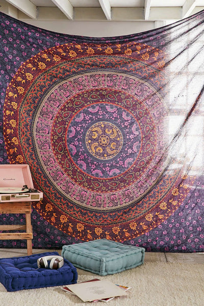 Large Hippie Tapestry, Hippy Mandala Bohemian Tapestries, Indian Dorm Decor, Psychedelic Tapestry Wall Hanging Ethnic Decorative Urban Tapestry (90x90 inches) (Multi Color) - Crystalline