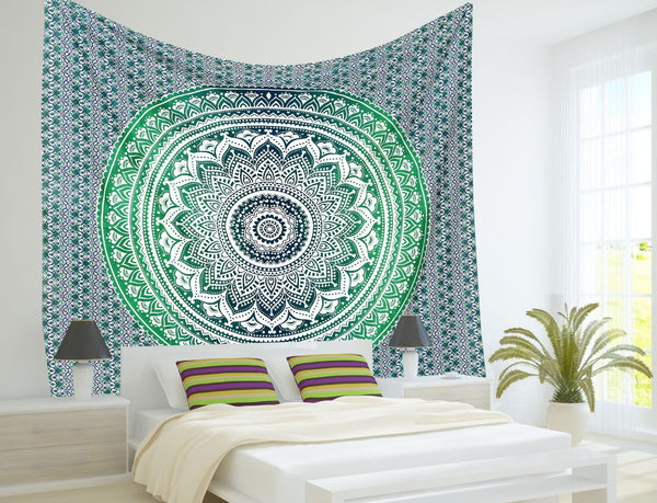Indian Mandala Tapestry Hippie Hippy Wall Hanging Throw Bedspread Dorm Tapestry Decorative Wall Hanging , Ombre Mandala Tapestries - Crystalline