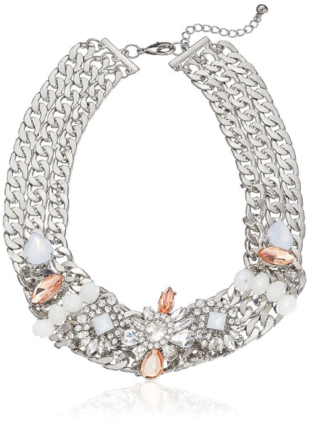 Layered Silver-Tone Chain Link Crystal and Stone Accented Statement Necklace, - Crystalline