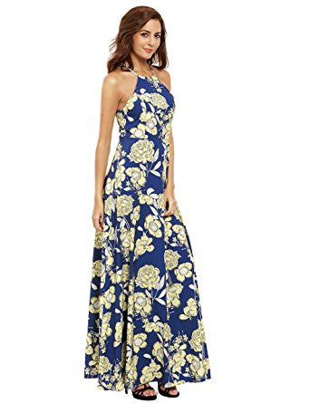 5e1b78076af Yellow Floral Print Halter Neck Sleeveless Maxi Dress