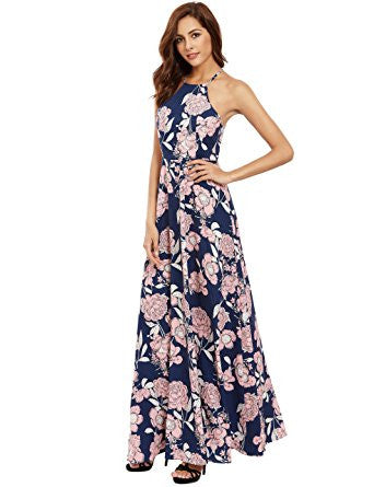 Pink Floral Print Halter Neck Sleeveless Maxi Dress