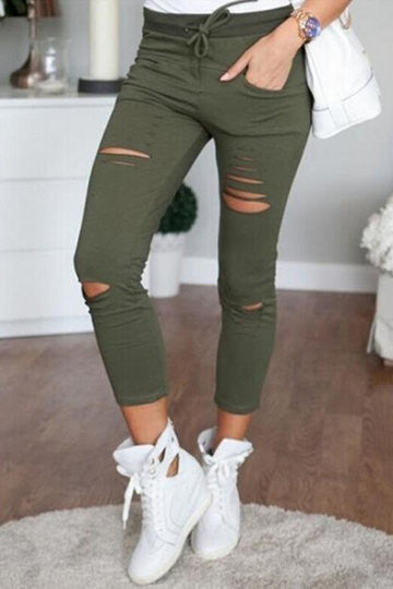 Green Waist Pockets Design Holes Casual Pants